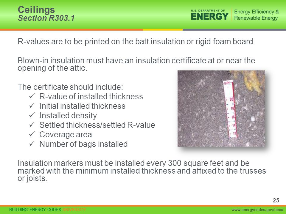 BUILDING ENERGY CODES UNIVERSITYwww.energycodes.gov/becu R-values are to be printed on the batt insulation or rigid foam board. Blown-in insulation mu