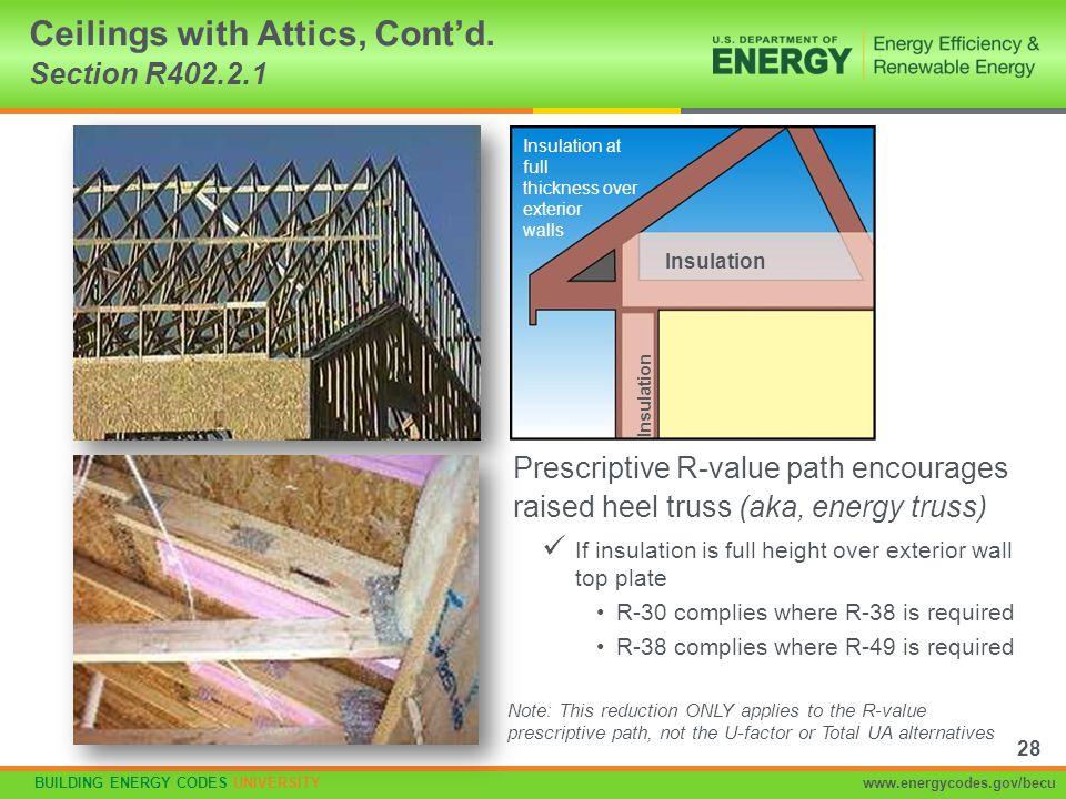 BUILDING ENERGY CODES UNIVERSITYwww.energycodes.gov/becu Prescriptive R-value path encourages raised heel truss (aka, energy truss) Ceilings with Atti