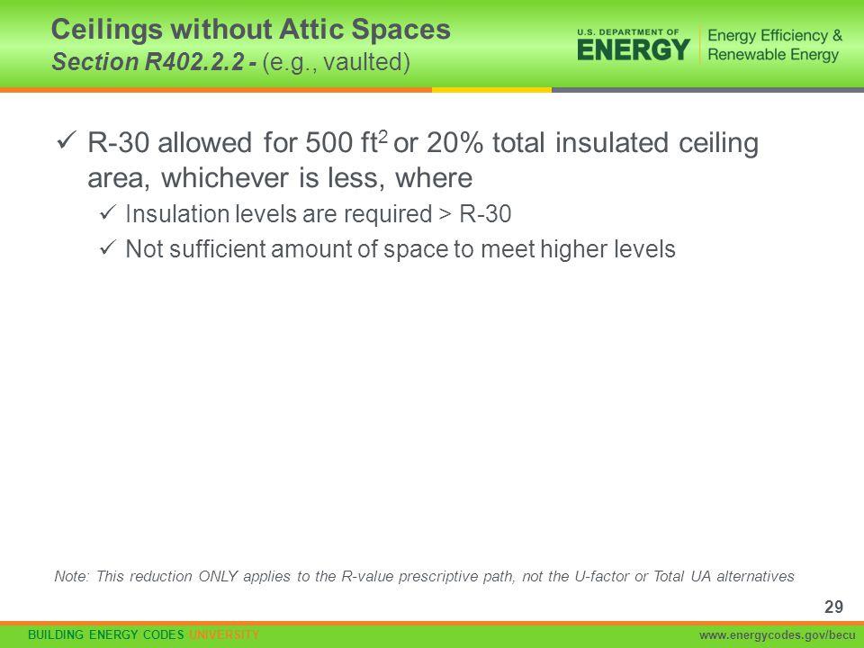 BUILDING ENERGY CODES UNIVERSITYwww.energycodes.gov/becu R-30 allowed for 500 ft 2 or 20% total insulated ceiling area, whichever is less, where Insul