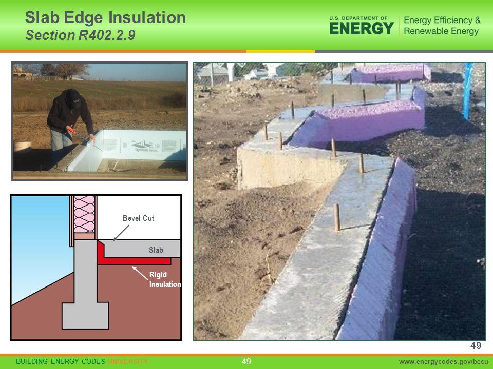BUILDING ENERGY CODES UNIVERSITYwww.energycodes.gov/becu 49 Slab Edge Insulation Section R402.2.9 Rigid Insulation Slab Bevel Cut 49