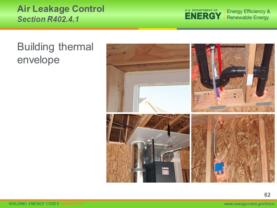 BUILDING ENERGY CODES UNIVERSITYwww.energycodes.gov/becu Building thermal envelope Air Leakage Control Section R402.4.1 62