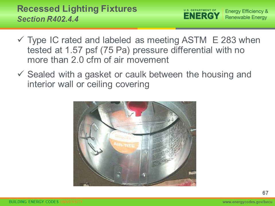 BUILDING ENERGY CODES UNIVERSITYwww.energycodes.gov/becu Type IC rated and labeled as meeting ASTM E 283 when tested at 1.57 psf (75 Pa) pressure diff