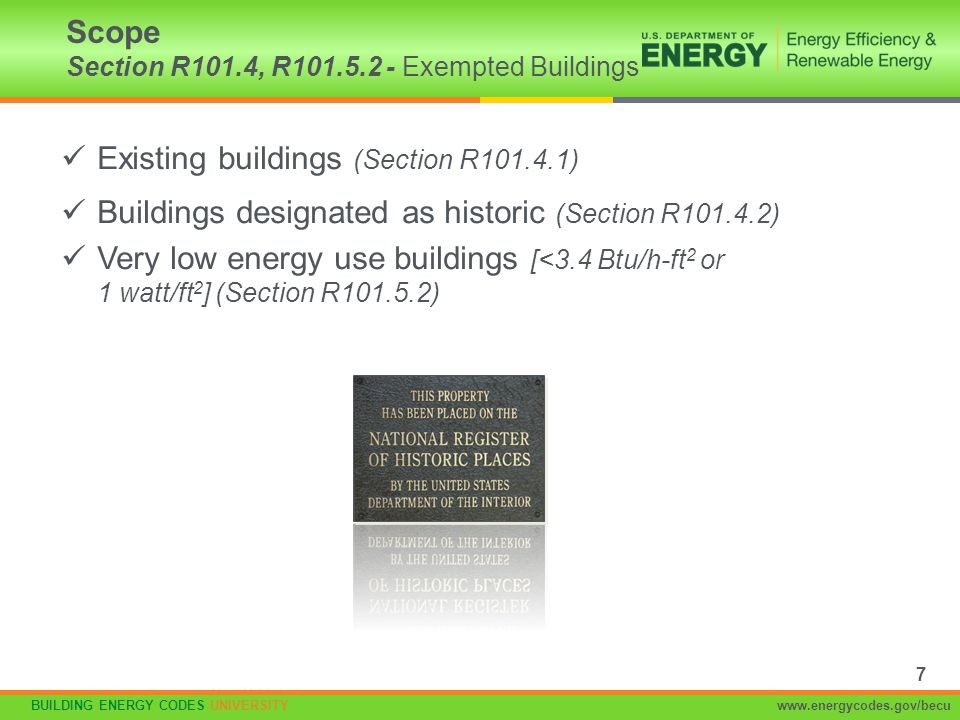 BUILDING ENERGY CODES UNIVERSITYwww.energycodes.gov/becu Applies to slabs with a floor surface < 12 inches below grade R-10 (typically 2 inches) insulation in Zones 4 and above Must extend downward from top of slab a minimum of 24 (Zones 4 and 5) or 48 (Zones 6, 7, and 8) Insulation can be vertical or extend horizontally under the slab or out from the building Insulation extending outward must be under 10 inches of soil or pavement An additional R-5 is required for heated slabs Insulation depth of the footing or 2 feet, whichever is less in Zones 1-3 for heated slabs Slab Edge Insulation Section R402.2.9 Figure 2 Flashing Protection Board Rigid Insulation Slab Rigid Insulation Slab Figure 4 Slab Figure 3 48