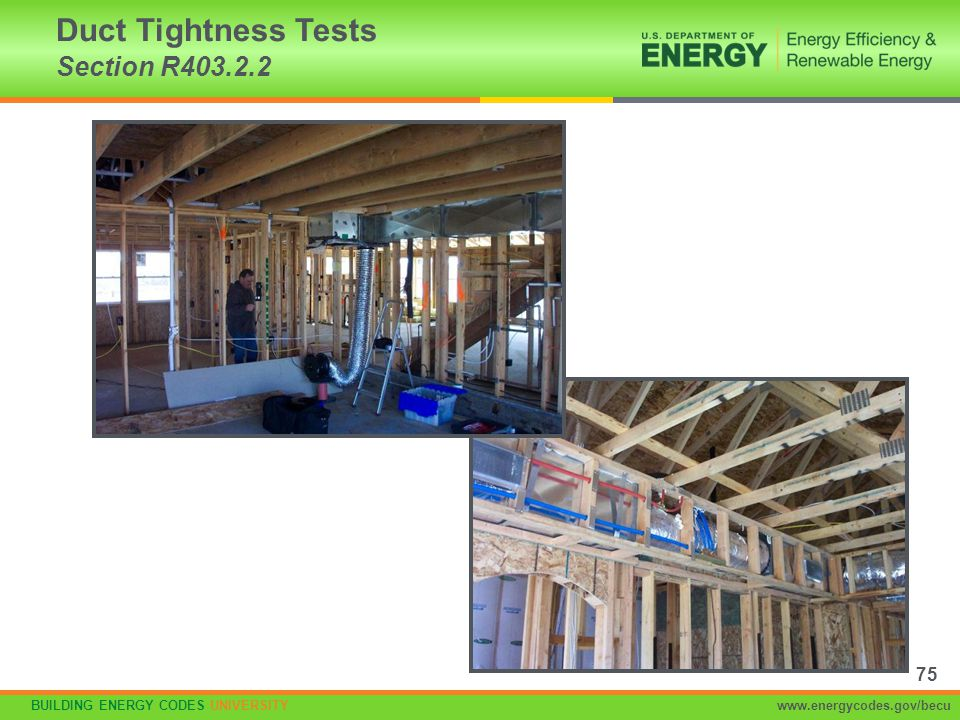 BUILDING ENERGY CODES UNIVERSITYwww.energycodes.gov/becu Duct Tightness Tests Section R403.2.2 75