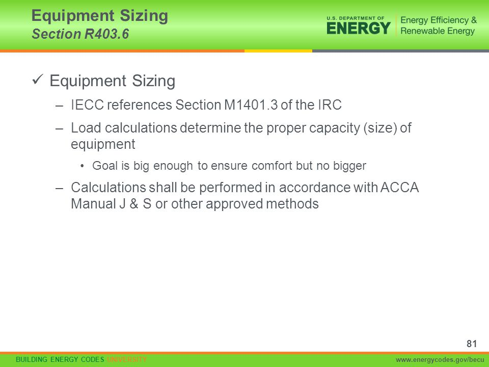 BUILDING ENERGY CODES UNIVERSITYwww.energycodes.gov/becu Equipment Sizing –IECC references Section M1401.3 of the IRC –Load calculations determine the