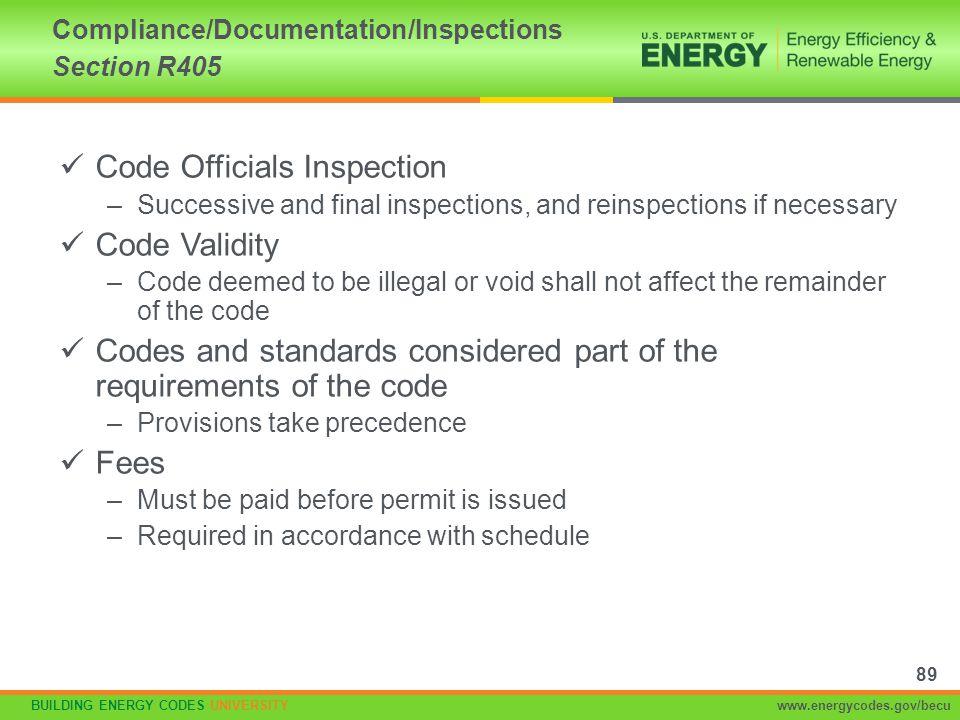 BUILDING ENERGY CODES UNIVERSITYwww.energycodes.gov/becu Code Officials Inspection –Successive and final inspections, and reinspections if necessary C