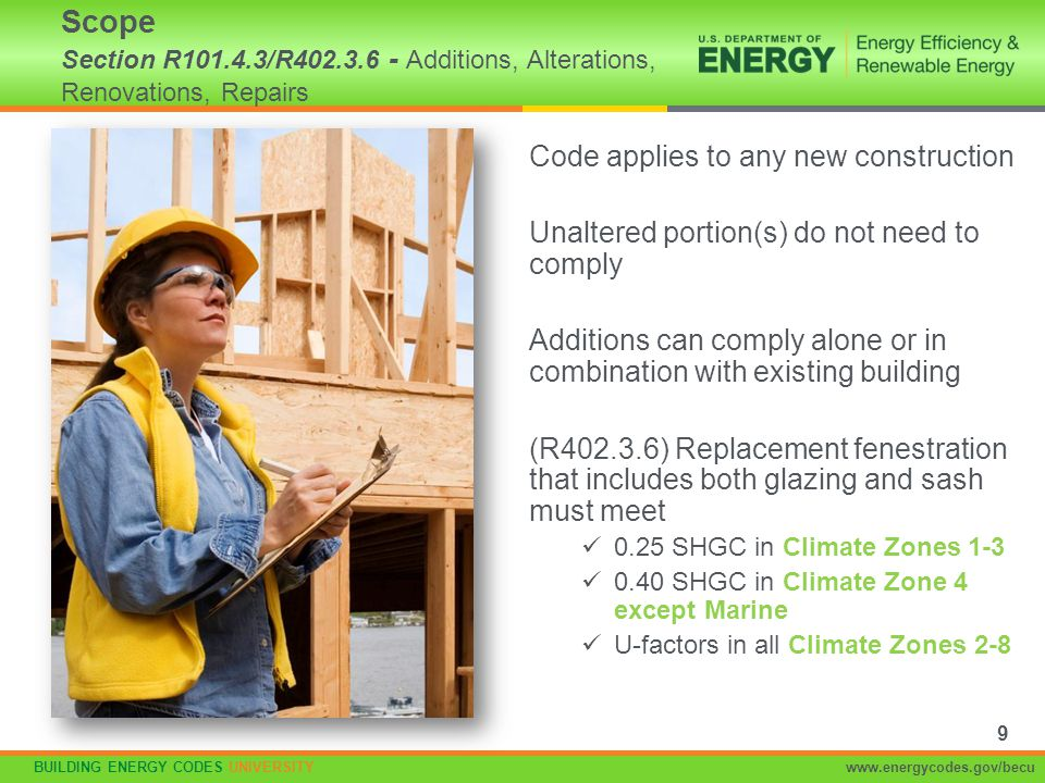 BUILDING ENERGY CODES UNIVERSITYwww.energycodes.gov/becu Requires computer software with specified capabilities (local official may approve other tools) Includes both envelope and some systems –Are treated equally in standard and proposed design Allows greatest flexibility –Can trade-off tight duct systems Defines compliance based on equivalency of calculated energy or energy cost Section R405 specifies ground rules –These will generally be hidden in compliance software calculation algorithms –Very similar ground rules are used in home federal tax credits and ENERGY STAR Home guidelines Simulated Performance Alternative 60