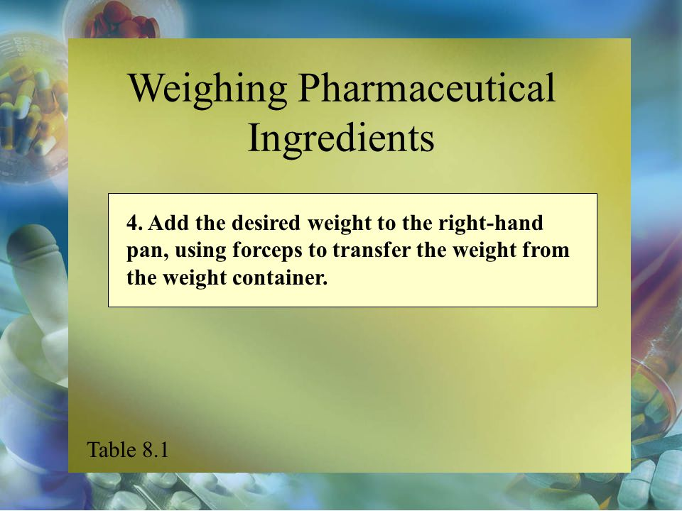 Weighing Pharmaceutical Ingredients 4. Add the desired weight to the right-hand pan, using forceps to transfer the weight from the weight container. T