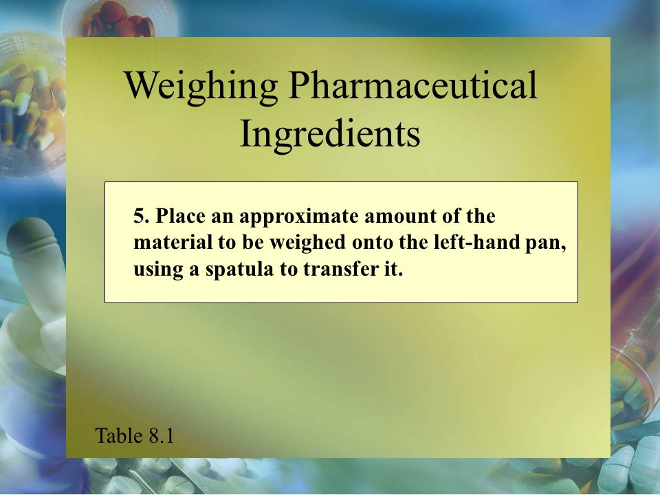Weighing Pharmaceutical Ingredients 5. Place an approximate amount of the material to be weighed onto the left-hand pan, using a spatula to transfer i