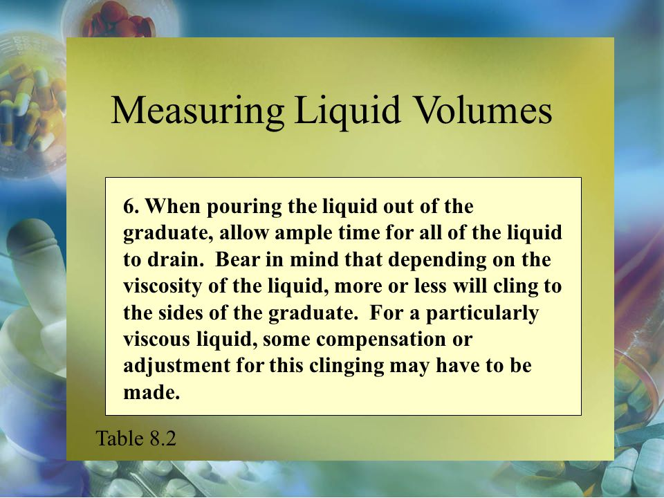 Measuring Liquid Volumes 6. When pouring the liquid out of the graduate, allow ample time for all of the liquid to drain. Bear in mind that depending