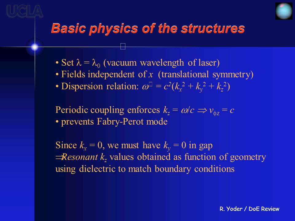 R. Yoder / DoE Review Basic physics of the structures Set = 0 (vacuum wavelength of laser) Fields independent of x (translational symmetry) Dispersion