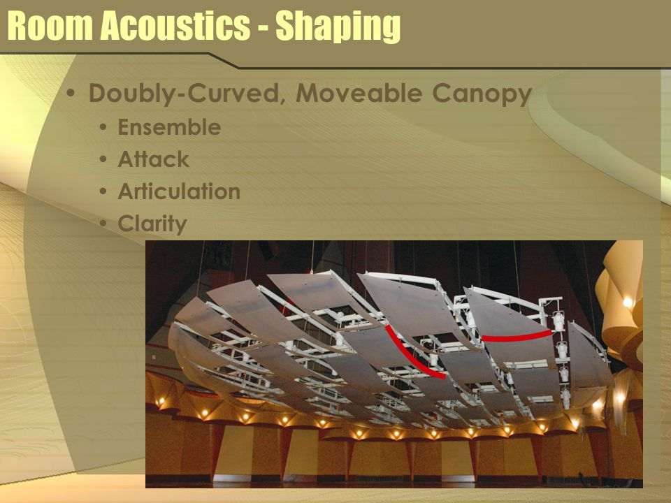 Room Acoustics - Shaping Doubly-Curved, Moveable Canopy Ensemble Attack Articulation Clarity