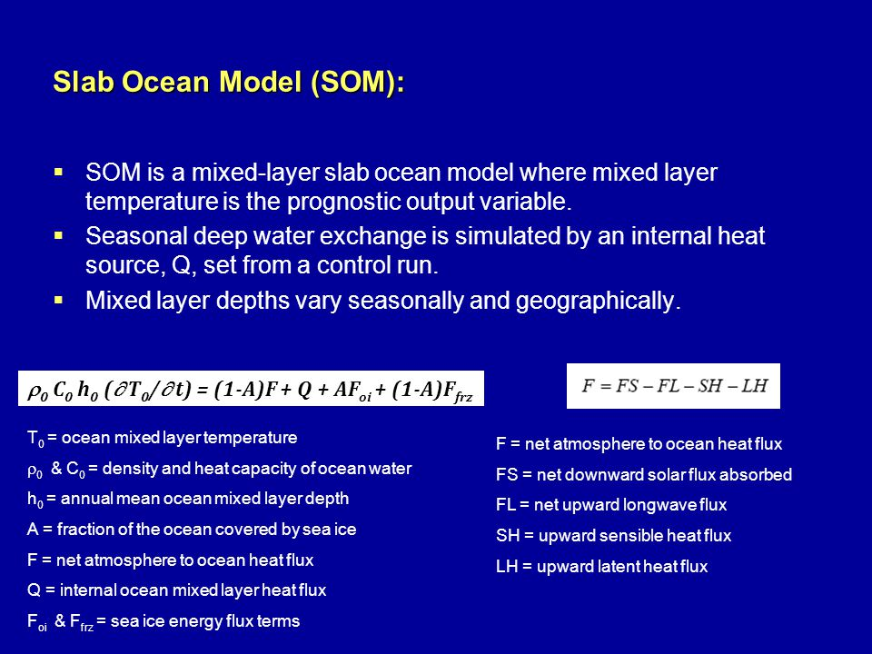 Slab Ocean Model (SOM):  SOM is a mixed-layer slab ocean model where mixed layer temperature is the prognostic output variable.