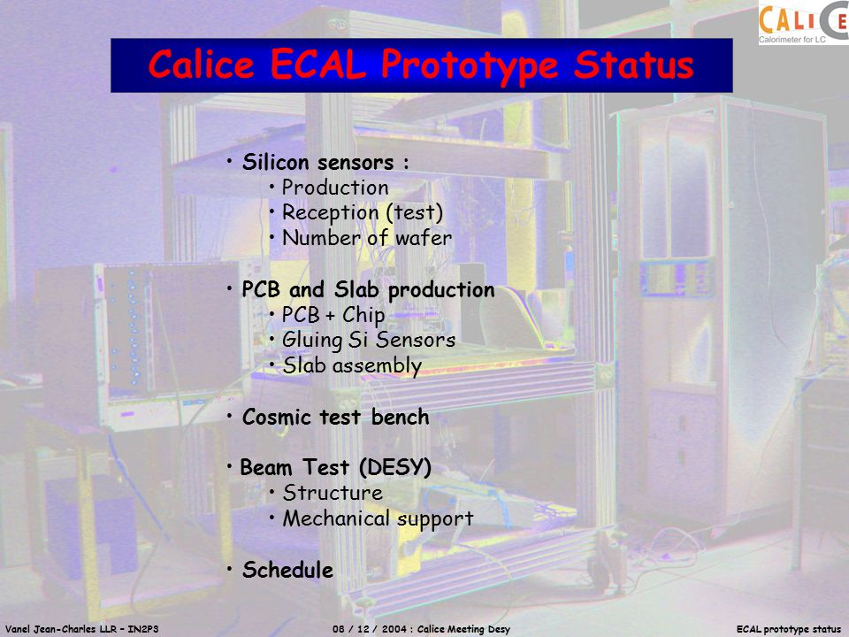 Vanel Jean-Charles LLR – IN2P3 08 / 12 / 2004 : Calice Meeting Desy ECAL prototype status Example Run Number : 198 Date : 22/11/2004 Number of Events : 487653 Number of Events on wafers : 418910 Duration : 116 hours (~4,8 days) Cosmic test bench