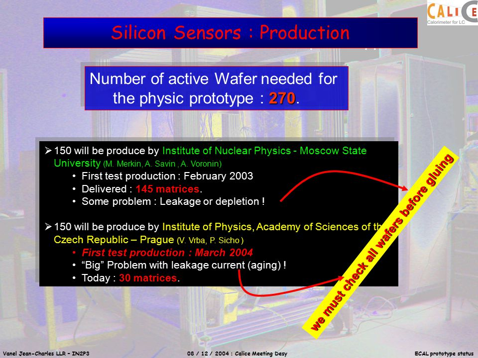 Vanel Jean-Charles LLR – IN2P3 08 / 12 / 2004 : Calice Meeting Desy ECAL prototype status Silicon Sensors : Reception (Test) I(V)  Leakage & Breakdown I(t)  aging 36 pixels must be polarized Soon C(V)… Conductive Foam