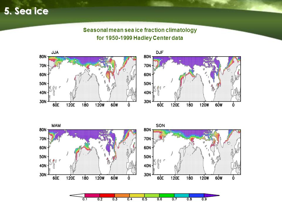 5. Sea ice Seasonal mean sea ice fraction climatology for 1950-1999 Hadley Center data