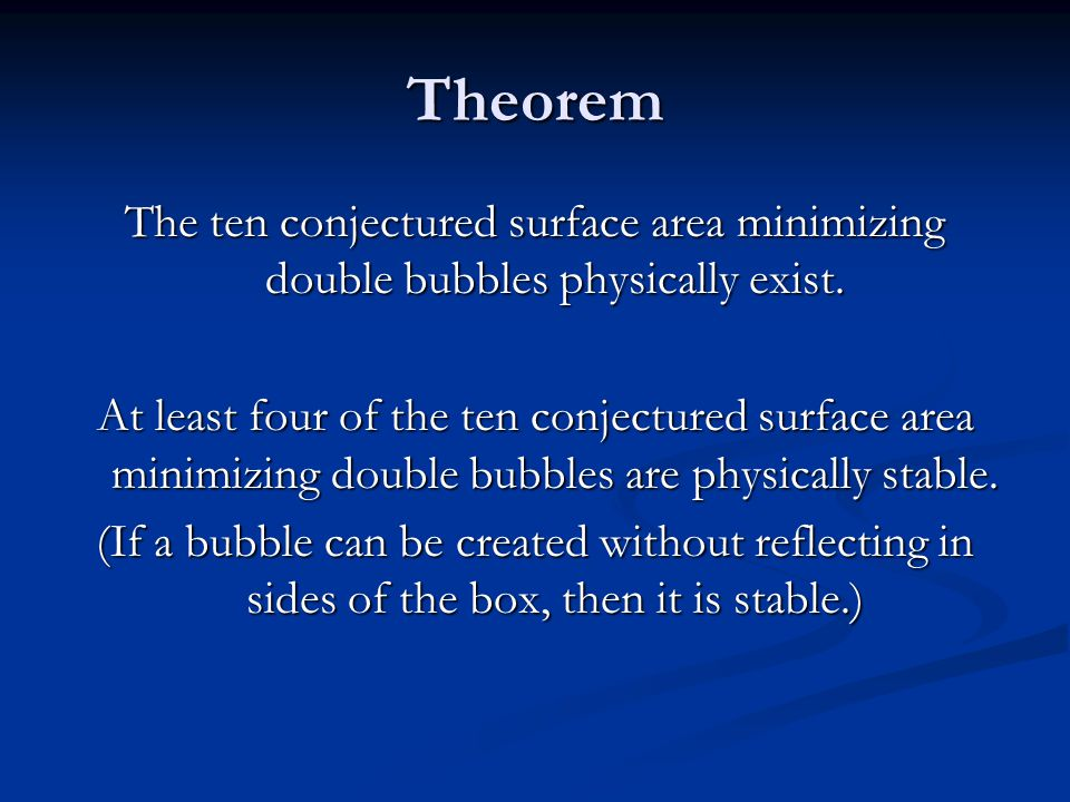 Theorem The ten conjectured surface area minimizing double bubbles physically exist. At least four of the ten conjectured surface area minimizing doub