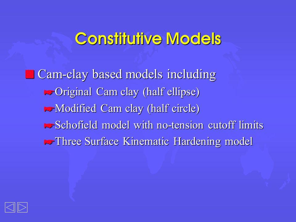 Elasto-plastic Models n Homogeneous, anisotropic, linear elastic n Non-homogeneous, anisotropic, linear elastic n Elastic-perfectly plastic with the following failure criteria: *Mohr-Coulomb *Drucker-Prager *Tresca *Von Mises