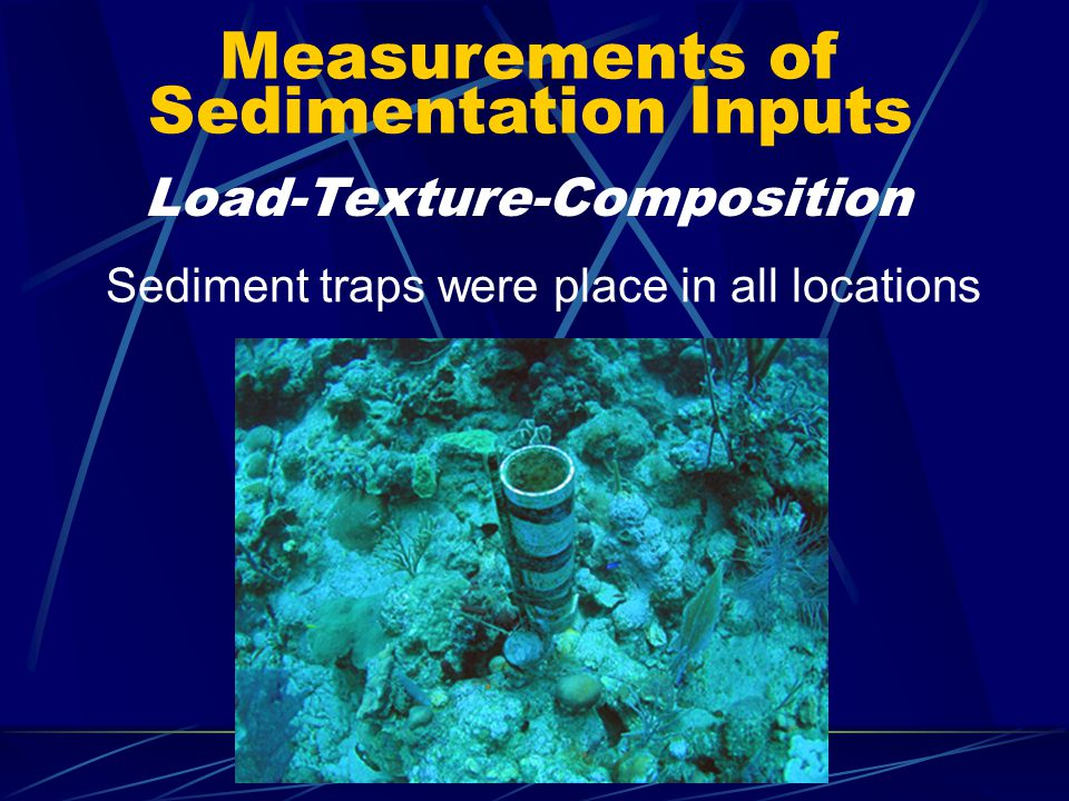 Measurements of Sedimentation Inputs Sediment traps were place in all locations Load-Texture-Composition