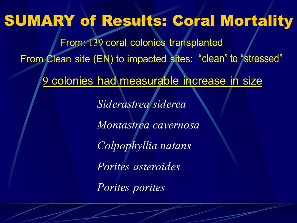 SUMARY of Results: Coral Mortality Siderastrea siderea Montastrea cavernosa Colpophyllia natans Porites asteroides Porites porites From: 139 coral colonies transplanted 9 colonies had measurable increase in size From Clean site (EN) to impacted sites: clean to stressed