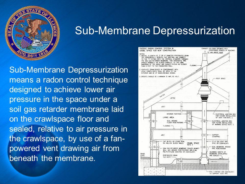 21 Sub-Membrane Depressurization Sub-Membrane Depressurization means a radon control technique designed to achieve lower air pressure in the space und
