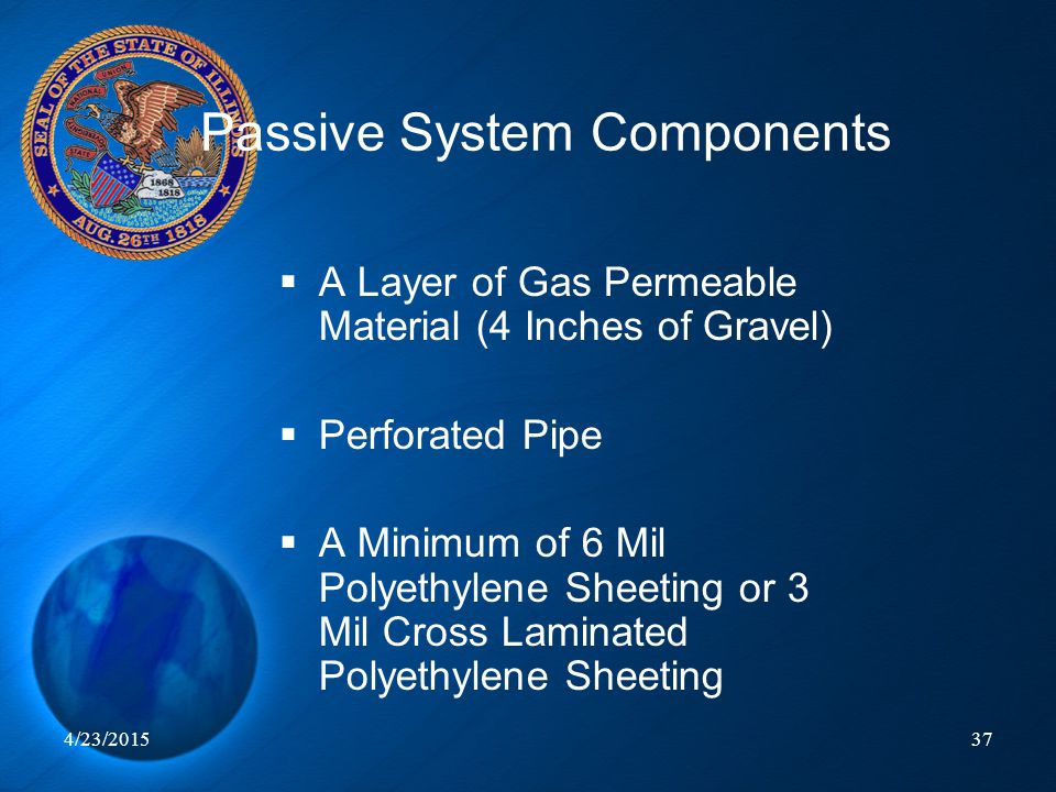 4/23/201537 Passive System Components  A Layer of Gas Permeable Material (4 Inches of Gravel)  Perforated Pipe  A Minimum of 6 Mil Polyethylene She