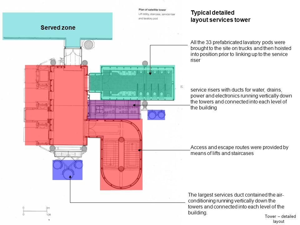 Tower – detailed layout Typical detailed layout services tower All the 33 prefabricated lavatory pods were brought to the site on trucks and then hois
