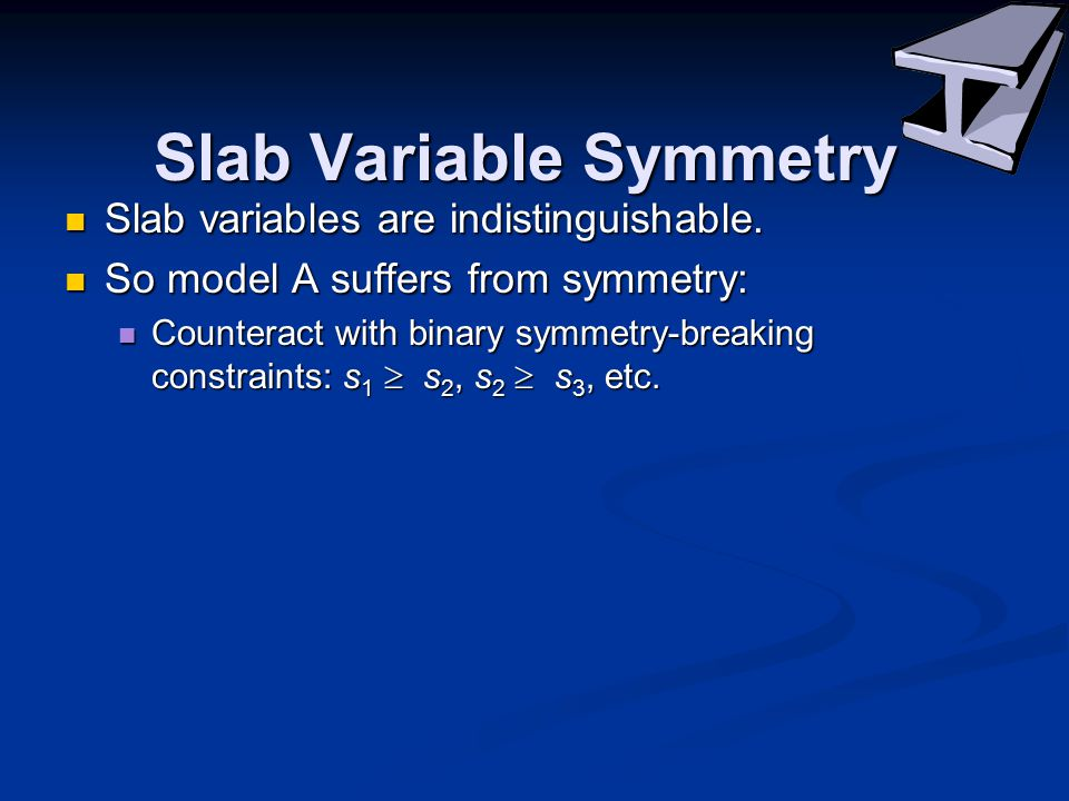 Slab Variable Symmetry Slab variables are indistinguishable.
