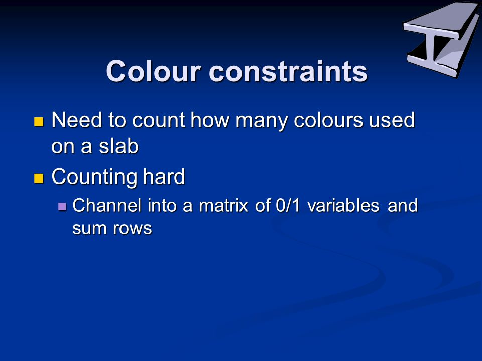 Colour constraints Need to count how many colours used on a slab Need to count how many colours used on a slab Counting hard Counting hard Channel into a matrix of 0/1 variables and sum rows Channel into a matrix of 0/1 variables and sum rows