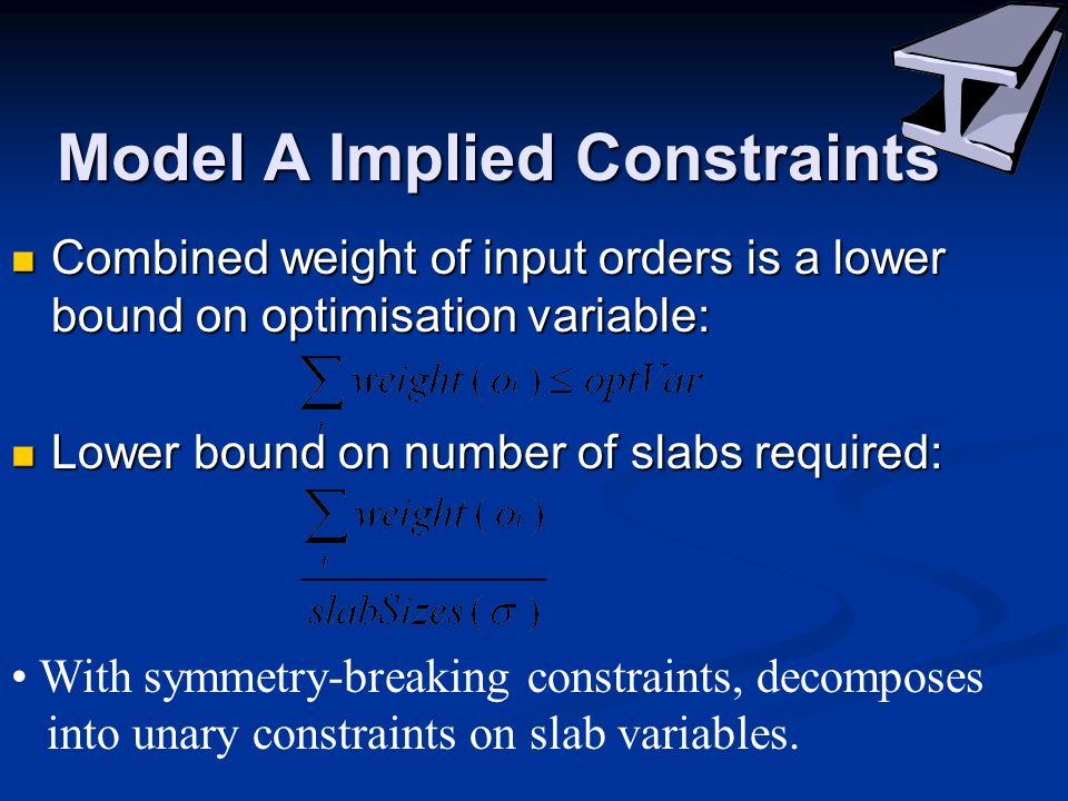 Model A Implied Constraints Combined weight of input orders is a lower bound on optimisation variable: Combined weight of input orders is a lower bound on optimisation variable: Lower bound on number of slabs required: Lower bound on number of slabs required: With symmetry-breaking constraints, decomposes into unary constraints on slab variables.