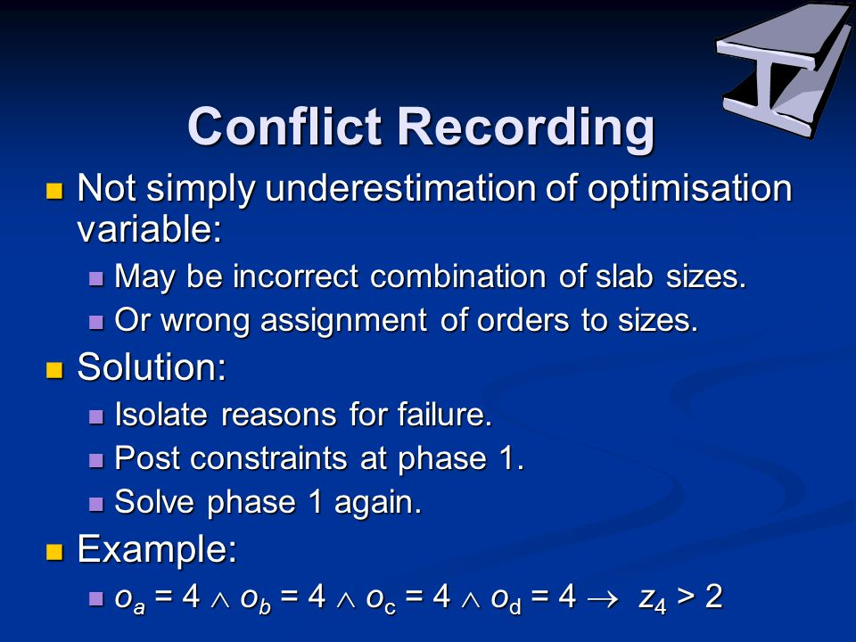 Conflict Recording Not simply underestimation of optimisation variable: Not simply underestimation of optimisation variable: May be incorrect combination of slab sizes.