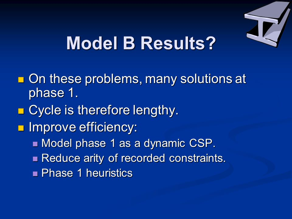 Model B Results. On these problems, many solutions at phase 1.