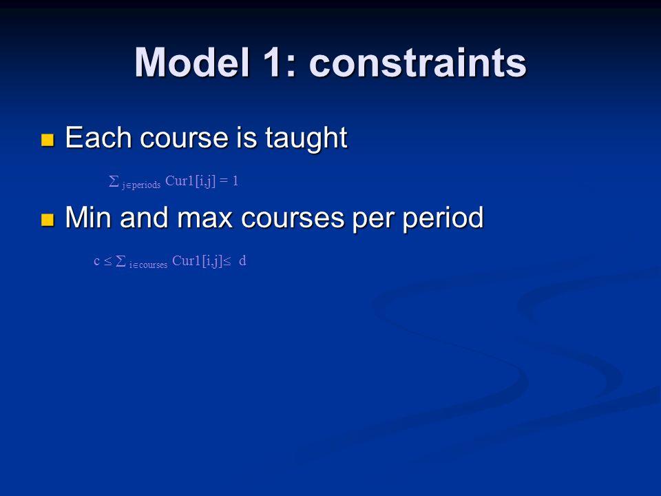Model 1: constraints Each course is taught Each course is taught  j  periods Cur1[i,j] = 1 Min and max courses per period Min and max courses per period c   i  courses Cur1[i,j]  d