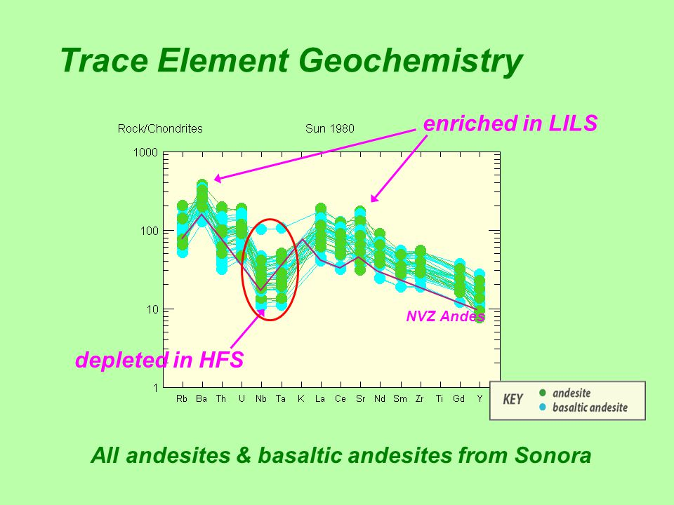Trace Element Geochemistry enriched in LILS depleted in HFS NVZ Andes All andesites & basaltic andesites from Sonora