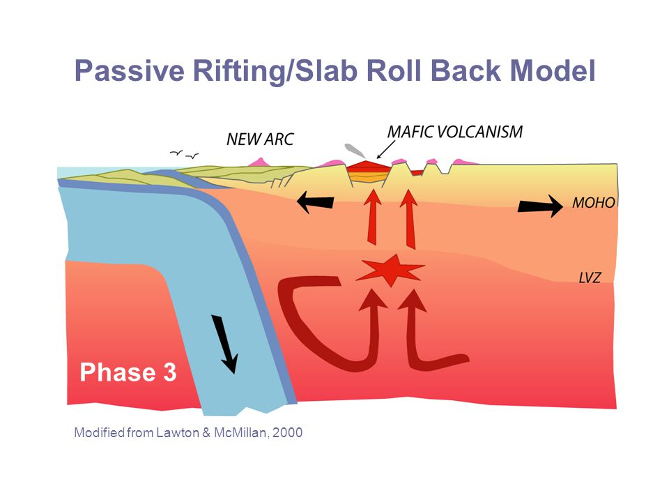 Passive Rifting/Slab Roll Back Model Modified from Lawton & McMillan, 2000 Phase 3