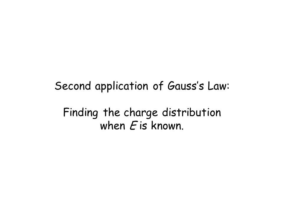 Second application of Gauss's Law: Finding the charge distribution when E is known.