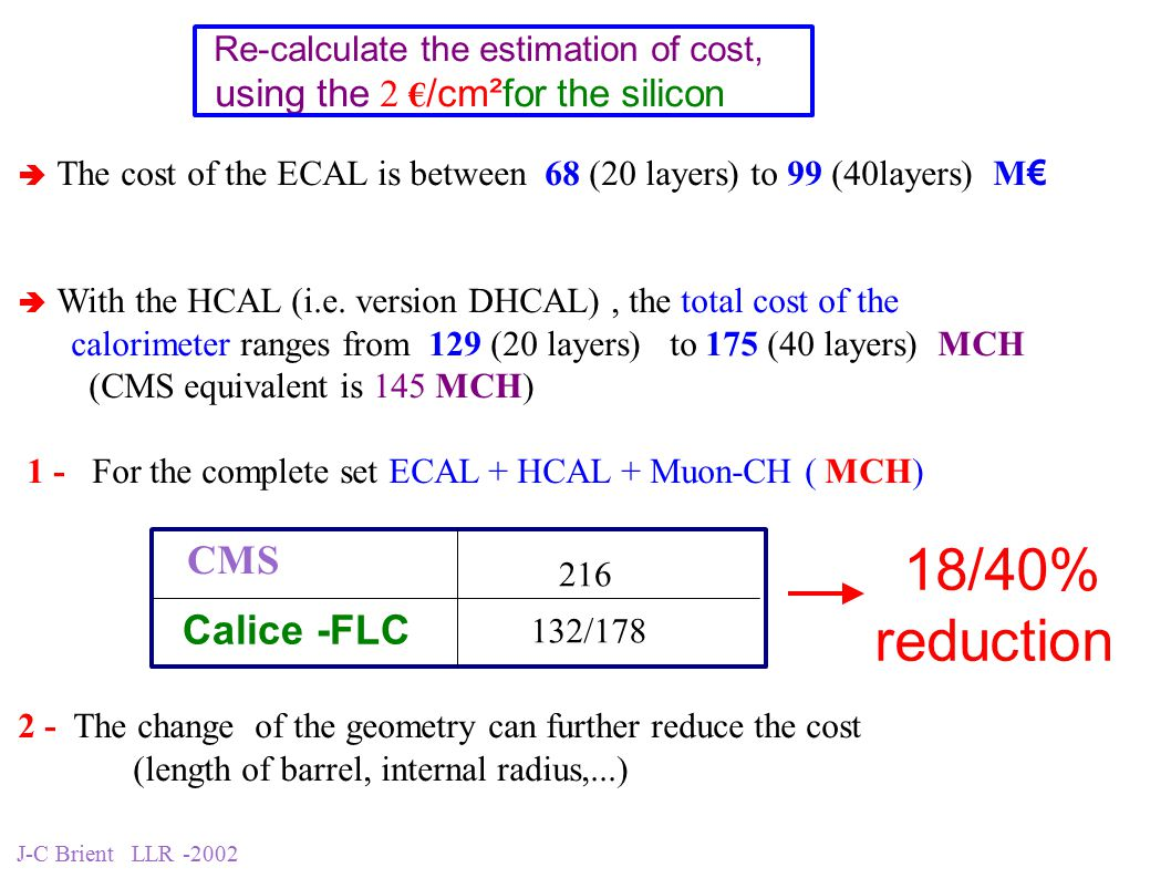 J-C Brient LLR -2002 Re-calculate the estimation of cost, using the 2 € /cm²for the silicon  The cost of the ECAL is between 68 (20 layers) to 99 (40layers) M €  With the HCAL (i.e.