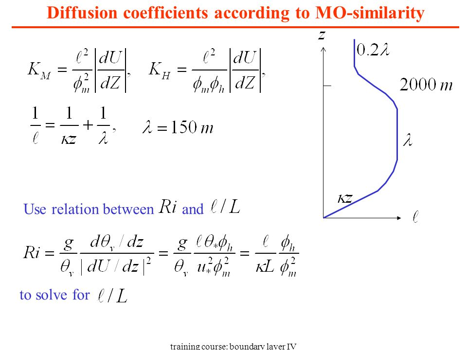 training course: boundary layer IV Diffusion coefficients according to MO-similarity Use relation between and to solve for
