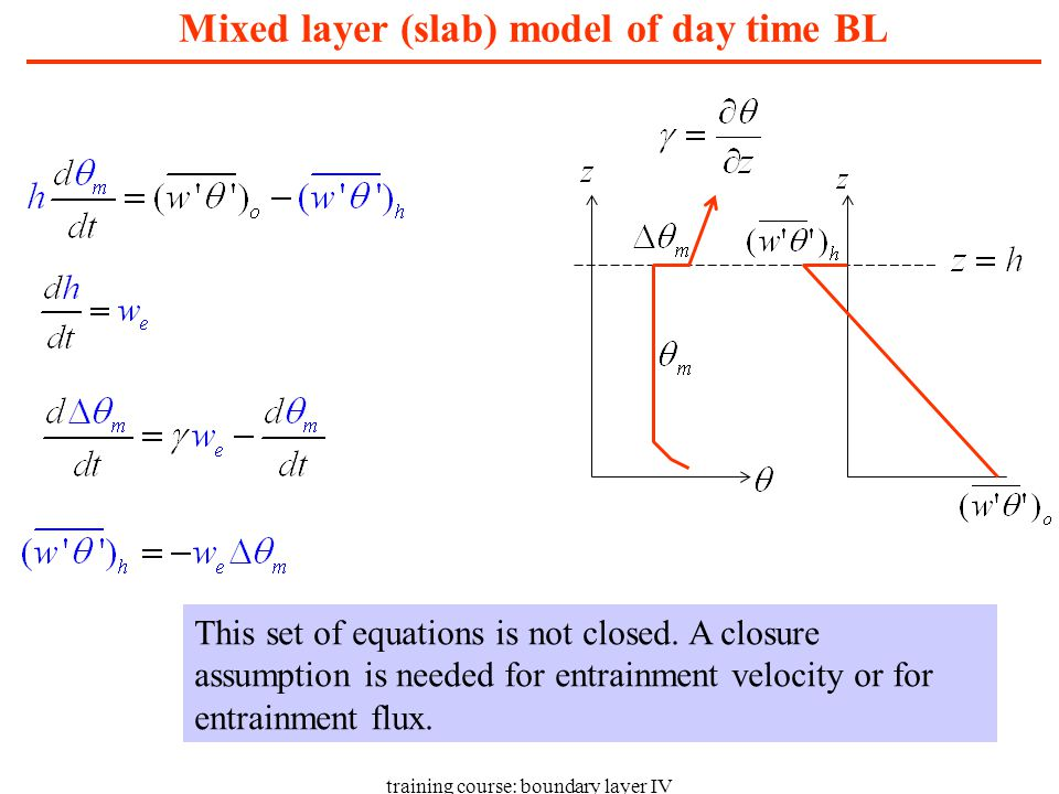 training course: boundary layer IV K-closure with local stability dependence (summary) Scheme is simple and easy to implement.