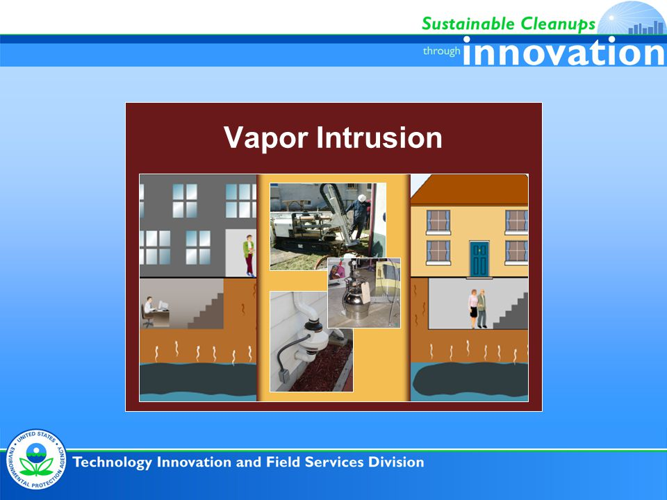 Vapor Intrusion Direct Technical Assistance Services ● Project Strategy Consultation –Including use of the Triad Approach, Exit Strategies ● Facilitation of Systematic Project Planning ● Review or development of: –Conceptual Site Models (CSMs) –Dynamic Work Strategies ● Recommendation of innovative and real-time investigation technologies ● Support with Johnson-Ettinger Vapor Intrusion Model ● Evaluation of remedial technologies ● Review of mitigation designs ● Training – Live / Webcast / Archived