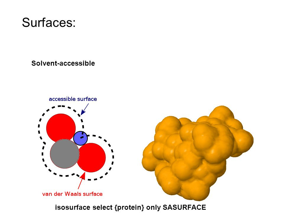 Surfaces: Solvent-accessible isosurface select {protein} only SASURFACE