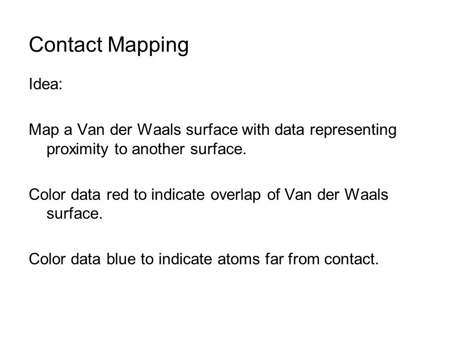 Contact Mapping Idea: Map a Van der Waals surface with data representing proximity to another surface.