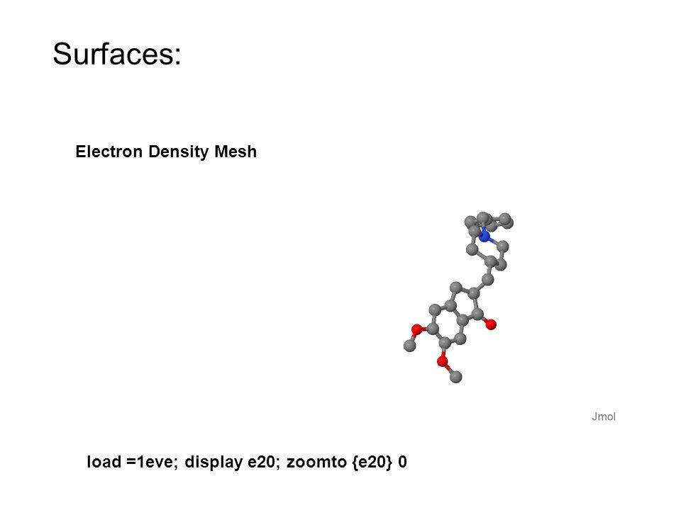 Surfaces: Electron Density Mesh load =1eve; display e20; zoomto {e20} 0