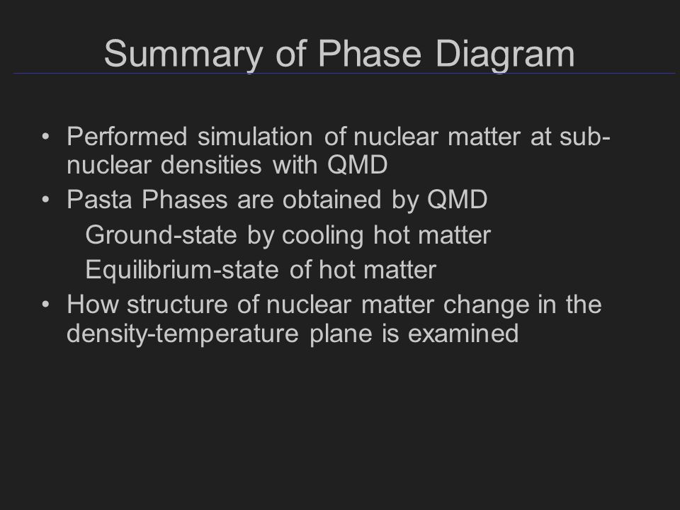 Summary of Phase Diagram Performed simulation of nuclear matter at sub- nuclear densities with QMD Pasta Phases are obtained by QMD Ground-state by cooling hot matter Equilibrium-state of hot matter How structure of nuclear matter change in the density-temperature plane is examined