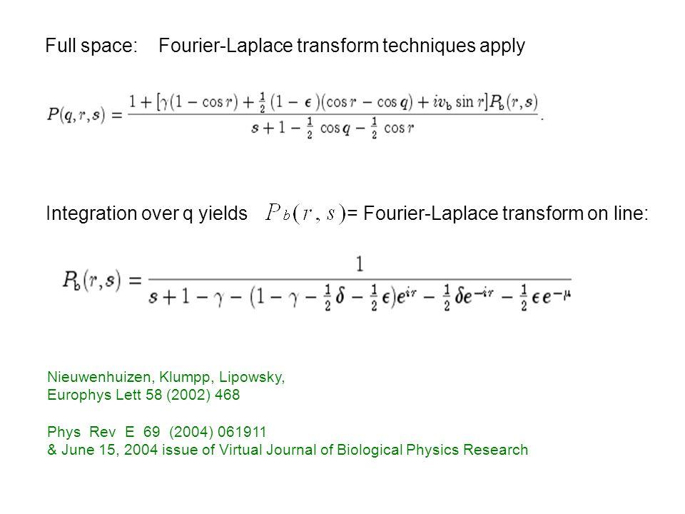 Full space: Fourier-Laplace transform techniques apply Integration over q yields = Fourier-Laplace transform on line: Nieuwenhuizen, Klumpp, Lipowsky,
