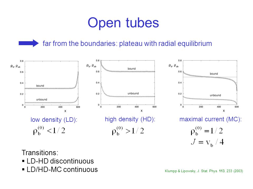 Open tubes far from the boundaries: plateau with radial equilibrium low density (LD): high density (HD):maximal current (MC): Transitions:  LD-HD discontinuous  LD/HD-MC continuous Klumpp & Lipowsky, J.
