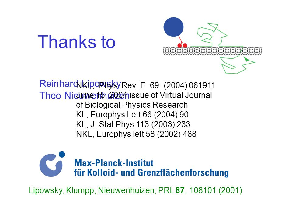 Thanks to Reinhard Lipowsky Theo Nieuwenhuizen NKL, Phys Rev E 69 (2004) 061911 June 15, 2004 issue of Virtual Journal of Biological Physics Research KL, Europhys Lett 66 (2004) 90 KL, J.