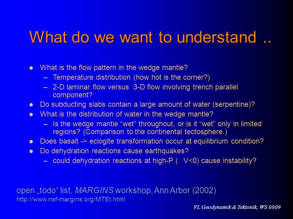 VL Geodynamik & Tektonik, WS 0809 What do we want to understand..