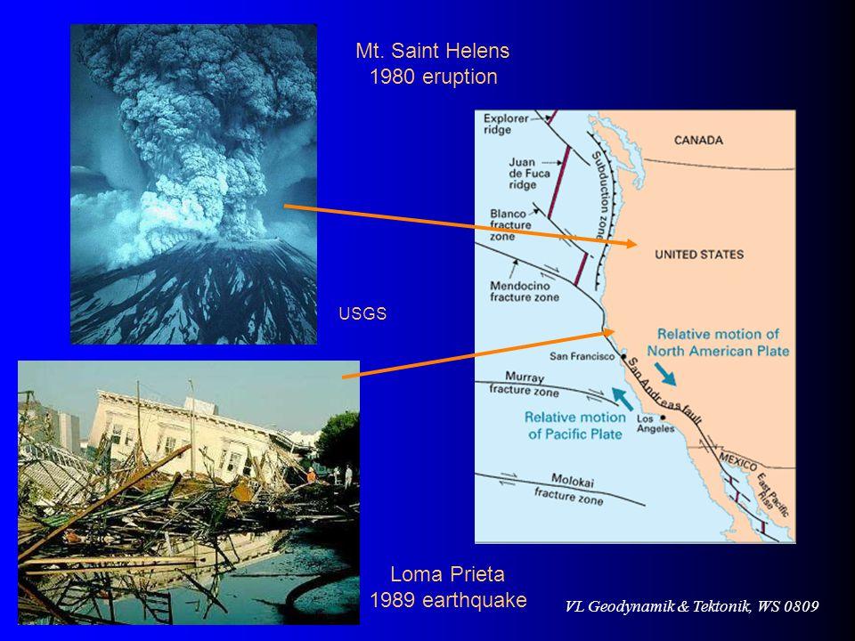 VL Geodynamik & Tektonik, WS 0809 Mt. Saint Helens 1980 eruption USGS Loma Prieta 1989 earthquake