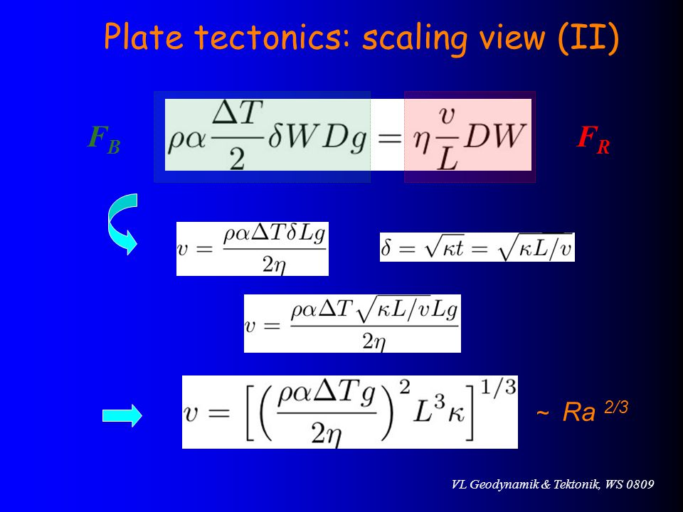 VL Geodynamik & Tektonik, WS 0809 FBFB FRFR ~ Ra 2/3 Plate tectonics: scaling view (II)